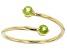 Green Peridot 10k Yellow Gold Bypass Ring .22ctw