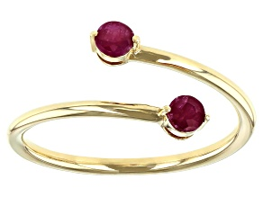 Red Ruby 10k Yellow Gold Bypass Ring .29ctw