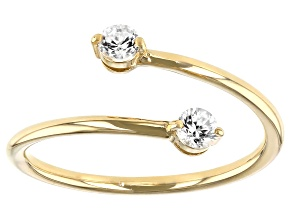 White Zircon 10k Yellow Gold Bypass Ring  0.29ctw