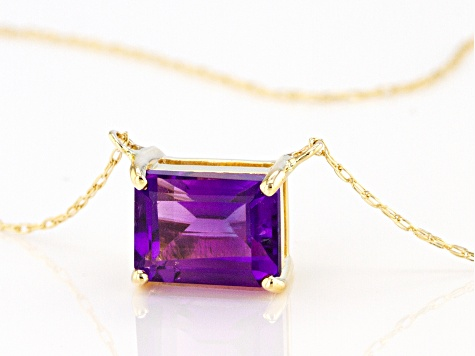Purple Amethyst 10k Yellow Gold Necklace 1.31ct