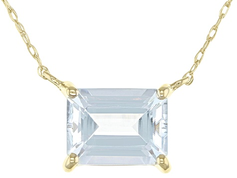 Blue Aquamarine 10k Yellow Gold Necklace 1.17ct