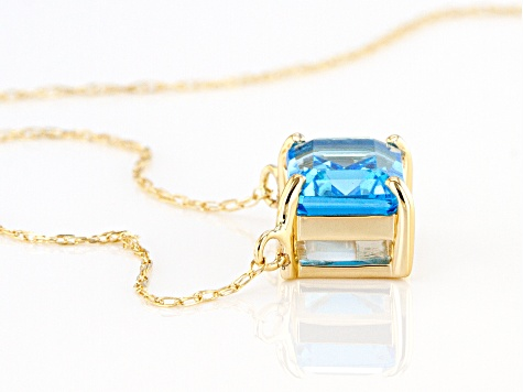 Swiss Blue Topaz 10k Yellow Gold Necklace 1.66ct