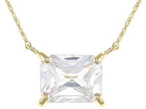White Zircon 10k Yellow Gold Necklace 1.78ct