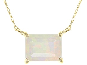 Multi Color Ethiopian Opal 10k Yellow Gold Necklace