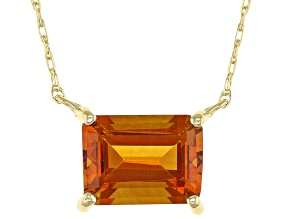 Orange Madeira Citrine 10k Yellow Gold Necklace 1.27ct