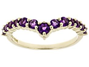 Purple African Amethyst 10k Yellow Gold Ring 0.60ctw