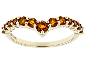Orange Madeira Citrine 10k Yellow Gold Ring .53ctw