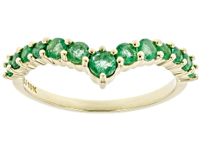 Green Emerald 10k Yellow Gold Ring .52ctw