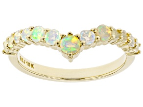 Multi Color Ethiopian Opal 10k Yellow Gold Ring .37ctw