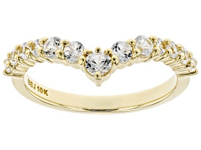 White Zircon 10k Yellow Gold Ring .81ctw