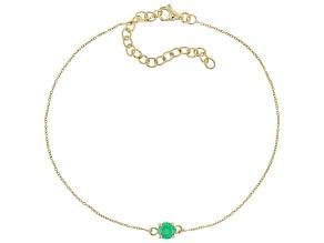 Green Sakota Emerald 10k Yellow Gold Bracelet .43ct