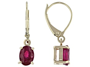 Red Mahaleo® Ruby 10k Yellow Gold Dangle Earrings 1.70ctw