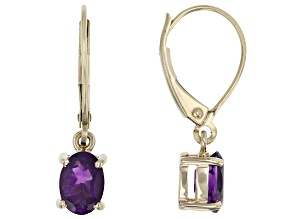 Purple African Amethyst 10k Yellow Gold Dangle Earrings 1.28ctw