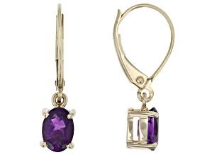 Purple African Amethyst 10k Yellow Gold Dangle Earrings 1.28ctw