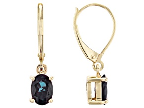 Teal Lab Created Alexandrite 10k Yellow Gold Earrings 1.46ctw