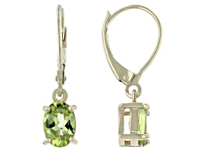Green Peridot 10k Yellow Gold Earrings 1.45ctw