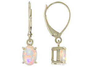Multicolor Ethiopian Opal 10k Yellow Gold Earrings .77ctw
