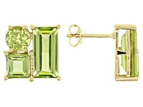Green Peridot 10k Yellow Gold Stud Earrings 4.40ctw