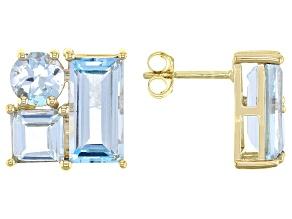 Sky Blue Topaz 10k Yellow Gold Stud Earrings 4.77ctw