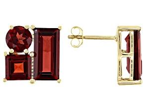 Red Garnet 10k Yellow Gold Stud Earrings 4.91ctw