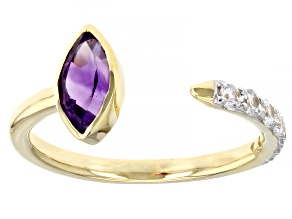 Purple Amethyst 10k Yellow Gold Ring 0.87ctw