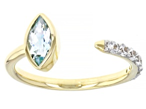 Blue Aquamarine 10k Yellow Gold Ring 0.78ctw