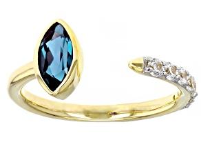 Blue Lab Created Alexandrite 10k Yellow Gold Ring 1.12ctw