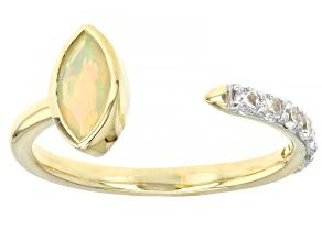 Multi Color Ethiopian Opal 10k Yellow Gold Ring 0.67ctw