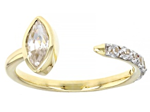 White Zircon 10k Yellow Gold Ring 0.98ctw