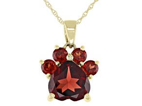 Red Garnet 10k Yellow Gold Paw Pendant With Chain. 1.84ctw