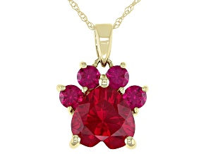 Red Lab Created Ruby 10k Yellow Gold Paw Pendant With Chain
