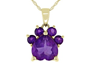 Purple Amethyst 10k Yellow Gold Paw Pendant With Chain. 1.59ctw