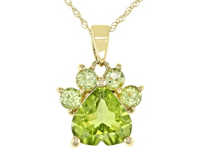 Green Peridot 10k Yellow Gold Paw Pendant With Chain. 1.94ctw