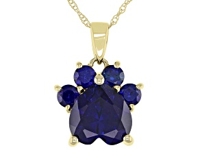 Blue Lab Sapphire 10k Yellow Gold Paw Pendant With Chain. 2.42ctw