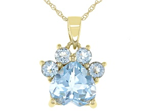 Blue Topaz 10k Yellow Gold Paw Pendant With Chain. 2.38ctw