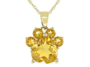 Yellow Citrine 10k Yellow Gold Paw Pendant With Chain. 1.59ctw