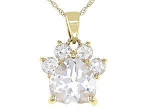 White Topaz 10k Yellow Gold Paw Pendant With Chain. 2.38ctw