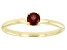 Red Garnet 10k Yellow Gold Solitaire Ring. 0.28ctw