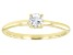 Blue Aquamarine 10k Yellow Gold Solitaire Ring. 0.19ctw