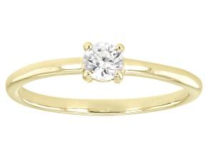 White Zircon 10k Yellow Gold Solitaire Ring. 0.34ctw