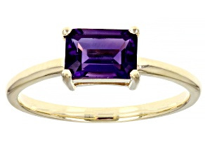 Purple Amethyst 10k Yellow Gold Solitaire Ring .85ctw