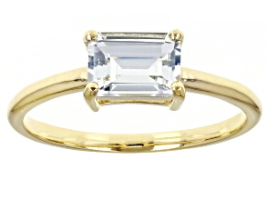 Blue Aquamarine 10k Yellow Gold Solitaire Ring .71ctw