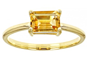 Yellow Citrine 10k Yellow Gold Solitaire Ring .82ctw