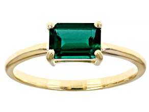 Green Lab Created Emerald 10k Yellow Gold Solitaire Ring .80ctw