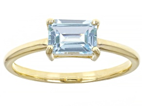Blue Topaz 10k Yellow Gold Solitaire Ring 1.05ctw
