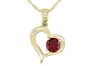 Round Garnet With Round White Diamond 10k Yellow Gold Heart Pendant With Chain 0.56ctw