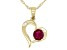 Round Mahaleo® Ruby With Round White Diamond 10k Yellow Gold Heart Pendant With Chain .63ctw