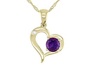 Purple Amethyst 10k Yellow Gold Heart Pendant With Chain .39ctw