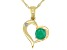 Green Emerald 10k Yellow Gold Heart Pendant With Chain .44ctw