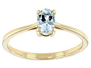 Blue Aquamarine 10k Yellow Gold Ring 0.32ct